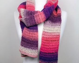 Nymph - Handmade Crochet Scarf in Striped Multi-Color Luxury Merino Wool, Extra Long