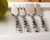 4 piece cheese tool set - hand wire wrapped and beaded - mermaid
