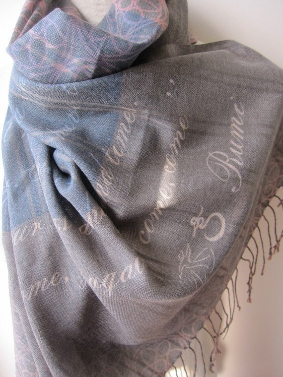 Rumi Quote scarf,Poetry Scarf,come come whoever you are Text scarf, book scarf - Inspirational quote by RUMI,Rumi scarf,Mevlana scarf- poem