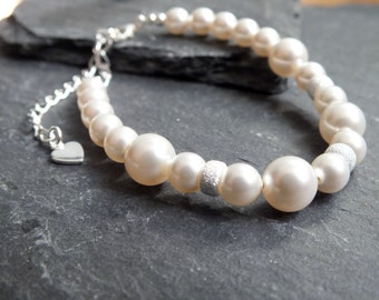 pearl bracelet, bridal jewelery,pearl and sterling silver  wedding accessories