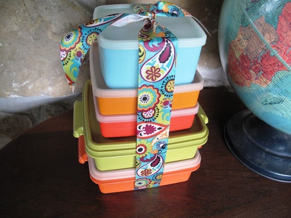 vintage tupperware make your own bento box lunch stack. Black Bedroom Furniture Sets. Home Design Ideas