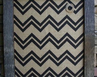 "22""x26"" Beautiful Barn Wood Frame with burlap Cork Board"