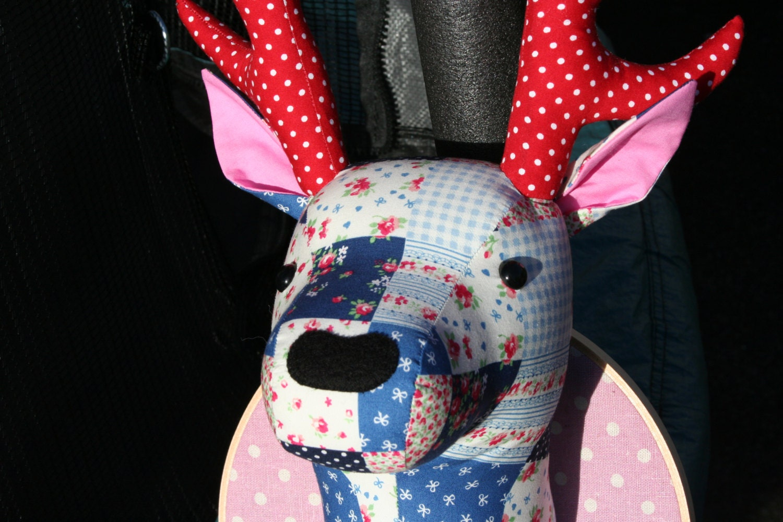Ciervos ciervo cabeza cabeza tela patchwork por purplejamtart for Cabeza de ciervo