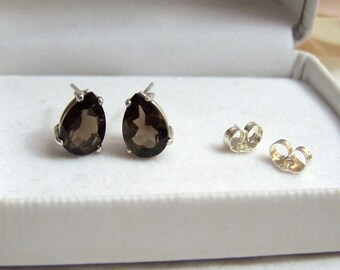 Pear Cut Gemstone Sterling Earrings Genuine Smoky Quartz Fancy Artisan Altered Authentic Vintage Sterling Pierced Stud