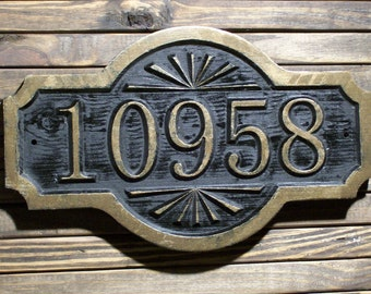 Address Sign Antique Brass Finished Double Arch Custom Carved Wood Plaque