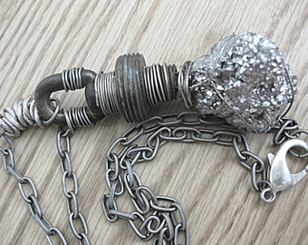 Industrial Necklace - Druzzy and Chain