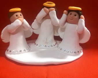 Polymer Clay - Hear No Evil, Speak No Evil, See No Evil Angels