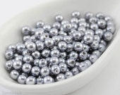 4mm Silver Gray Pearl Beads (100) Czech Small Glass Thin Pressed Round Druk Opaque Spacers Frosted Matte last