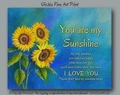 Song lyric art, Sunflower decor, You are my sunshine, Blue and yellow laundry room decor, Blue & yellow bathroom wall art, Song lyric print
