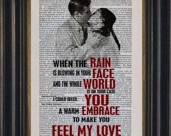 Garth Brooks Bob Dylan Adele Make You Feel My Love  Song Lyrics print on upcycled Vintage Page