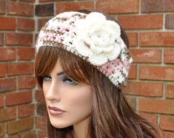 Crochet Ear Warmer, Crochet Headband with Flower in Multi color, Head wrap. Style 2.