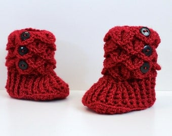 Baby Slippers, Christmas Booties, Baby Crocodile Stitch Slipper Booties, Ruby Red Slippers, Made to Order
