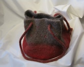 Red and Stone-colored Felted Alpaca  Bag