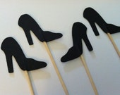 12 Black Heel cupcake toppers, Stilleto toppers, Hight heel shoe toppers