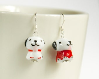 Delicate sterling silver with miniature porcelain puppy earrings, asymmetrical dog earrings, fashion earrings