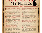 My House, My Cat, My Rules Digital print for cat lovers **A4**