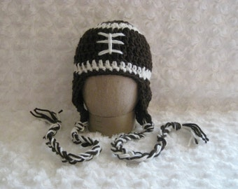 Crochet Baby Football Hat Brown ready to ship photo prop with earflaps