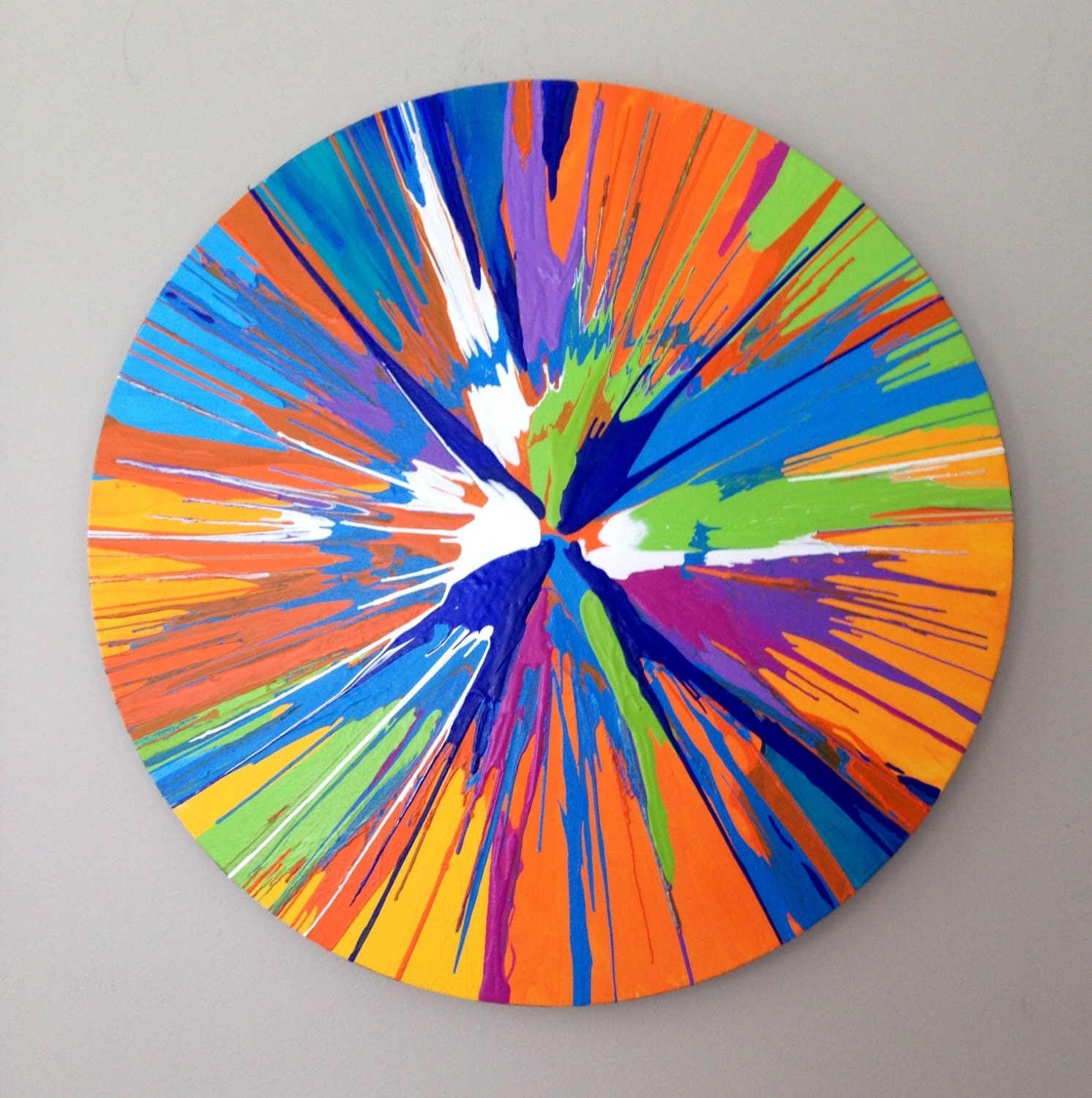 round spin painting large abstract blue green orange 20