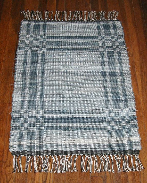 Handwoven Denim Rag Rug In Log Cabin Pattern