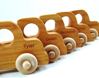 Organic Wooden Toy Truck PERSONALIZED -  Natural Fun for Kids Babies Toddlers