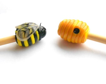 Honey Bee and Hive Knitting Needles