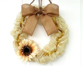 Fall Wreath - Fall Deco Mesh Wreath - Ivory Gold Deco Mesh Wreath with Burlap Bow and Sunflower