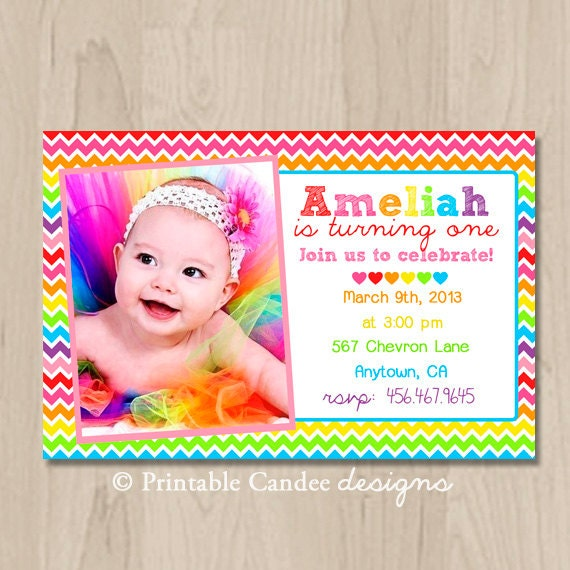 Rainbow Chevron Birthday Invitation - DIY Custom Printable