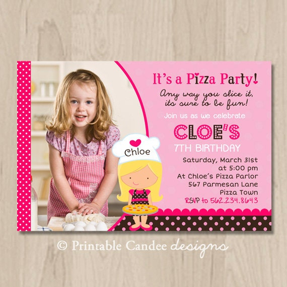 Pink and Brown Pizza Party Birthday Invitation - DIY Custom Printable