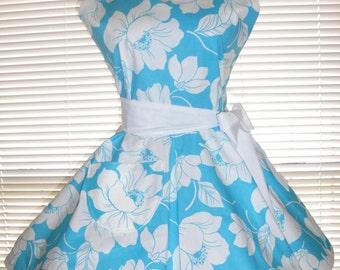 Retro Apron Turquoise and White Floral Circular Flirty Skirt