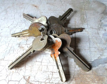 Vintage Keys, Antique Keys, Flat Keys, 1800s, Key, Old Keys, Rusty Keys, 7 Pcs, Props, Original Wire Loop, All Vintage Man