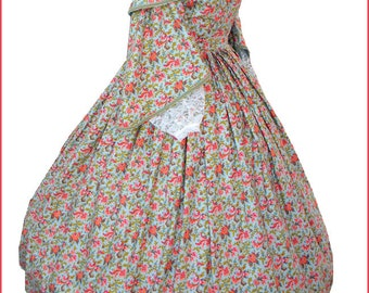 1800's Civil War Victorian Day Pagoda Sleeve Dress Parsley Flowers Gorgeous Gown