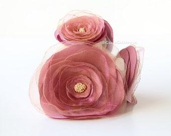 Pink and Ecru Bridal Sash, Powder Pink Organza Belt, Flower Wedding Belt
