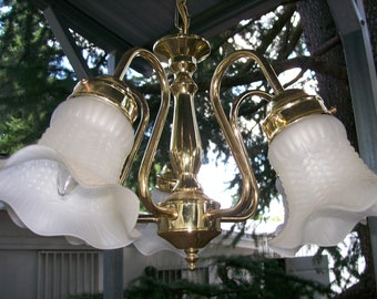 Brass Chandelier With Frosted Globes