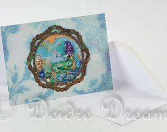 Mermaid Card, Mermaid Greeting Card, Greetings Card, Valentine Card, Ocean Card, Ocean Decor, Beach Decor, Mermaid Decor, Mermaid Wall Art