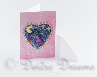 Valentine Card, Witch Card, Heart Card, Greeting Card, Greetings Card, Star Card, Birthday Card, Halloween Card, Christmas Card, Yule Card