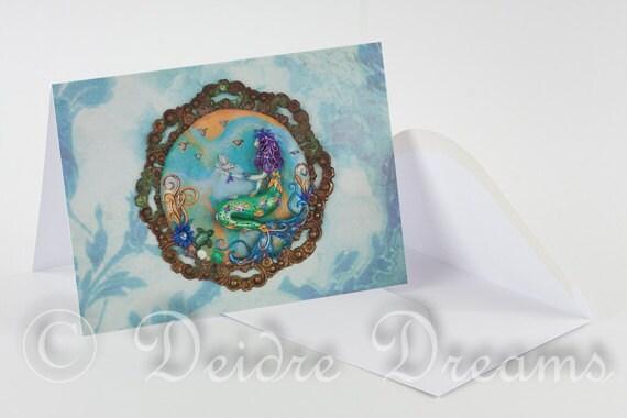 Mermaid Card, Mermaid Greeting Card, Greetings Card, Valentine Card, Ocean Card, Ocean Decor, Beach Decor, Mermaid Decor, Mermaid Wall Art