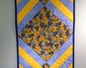Blue and Yellow Reversible Quilted Table Runner with Pansies