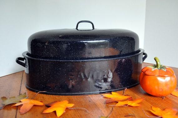 Vintage 1950s Savory Speckled Navy Blue Roasting Pan