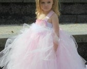 Masquerade  - Christine Couture Feather - Flower Girl Tutu Dress 2t, 3t, 4t, 5t, 6