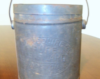 Vintage Metal Lard Bucket Can with Cover and Handle John P. Squire Co Ca 1927
