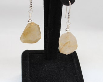 Rutilated Quartz Earrings with Sterling Silver Wires