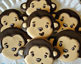 Monkey Themed Decorated Sugar Cookies Birthday Baby Shower Cookie Favors One Dozen