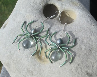 Seafoam Spider Earrings - Large, Rare Glass Drops -Oddity - Pretty Spiders - Steam Punk - gothic - Christmas - Aracnid - Creepy Crawly