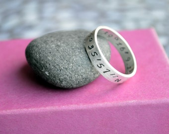 Personalized Wide Men's Ring in Sterling Silver, wedding band, engraved ring