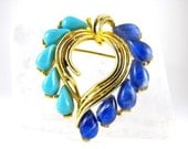 Lovely Mamselle Heart Brooch Lapis Turquoise Art Glass Drops Gold Tone Vintage