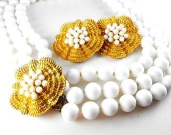 Superb Necklace Earring Set Signed Castlecliff Triple Strand Milk Glass Russian Gold Floret