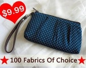 Polka Dot wristlet purse, wristlet pouch , wristlet clutch - polka dot purse zipper pouch