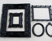 SALE Shabby Country French Chic ORNATE Glossy Black Picture Frames Collection Wall Grouping