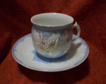 Pot pot belly cup and saucer  3D Design Vintage 30s Collectible