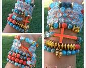 20 percent discount, Orange, Turquoise,arm candy, bracelet set, arm party